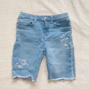 Long denim shorts light wash
